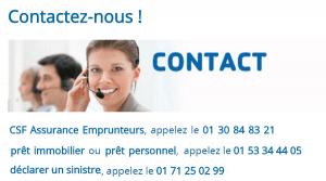 contact CSF numéro de téléphone