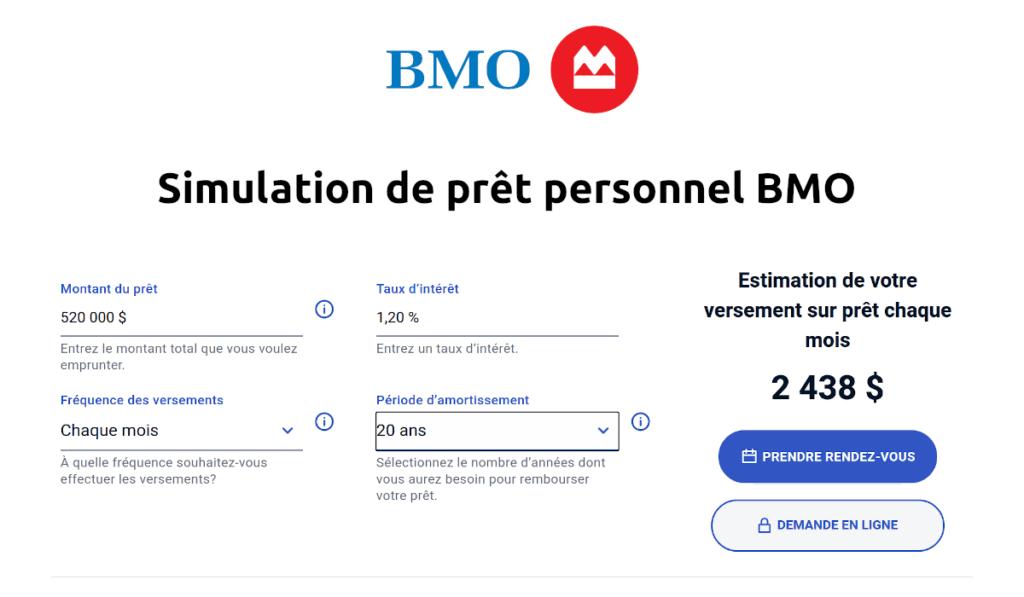 simulation de prêt personnel BMO